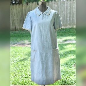 Vintage Pale Blue & White Dress with Flower Print